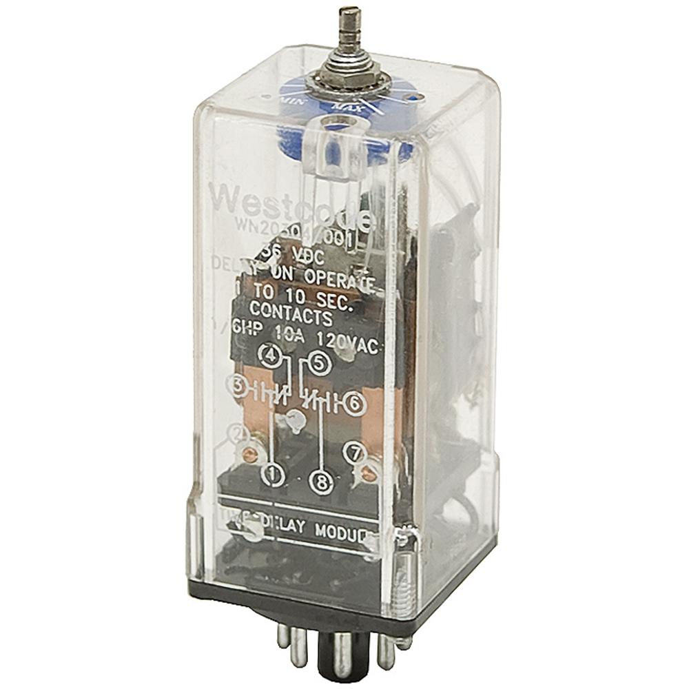36 Volt DC DPDT 0 2-2 Second Adj Delay Relay 10 Amp