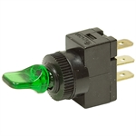 SPST 20 Amp 12 Volt Toggle Switch Green Glow Lever