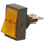 SPST Lighted Amber 12 Volt DC Rocker Switch