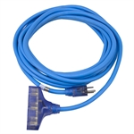 20 Ft 12/3 Sub Zero Blue Extension Cord 3X Outlets