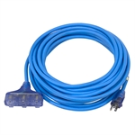 40 Ft 12/3 Sub Zero Blue Extension Cord 3X Outlets
