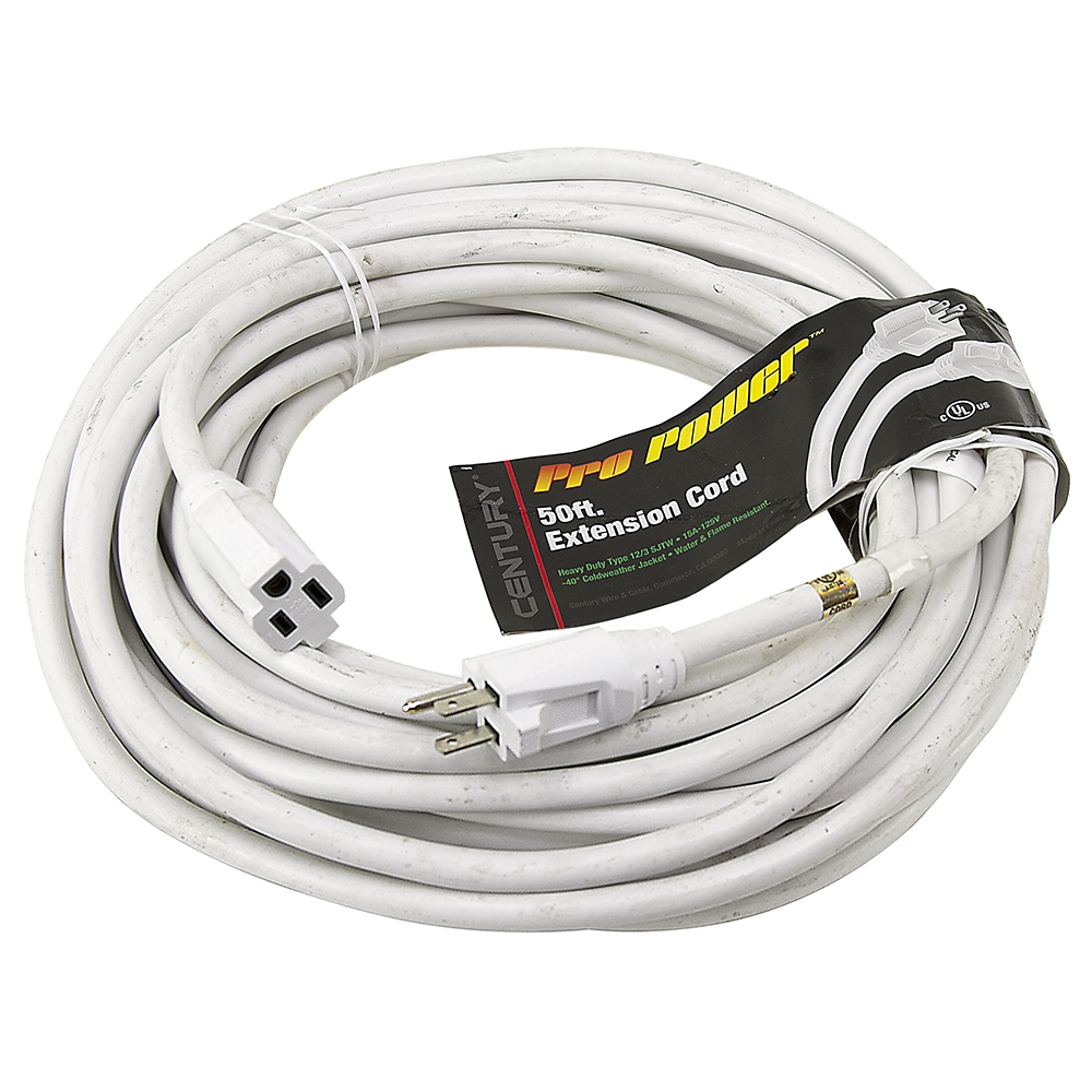 50 Ft 12/3 White Extension Cord | Extension Cords | Power Cords ...