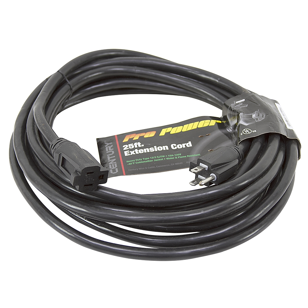 25 Ft 12/3 Black Extension Cord | Extension Cords | Power Cords ...
