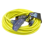 50 Ft 12/3 Yellow Triple Tap Extension Cord