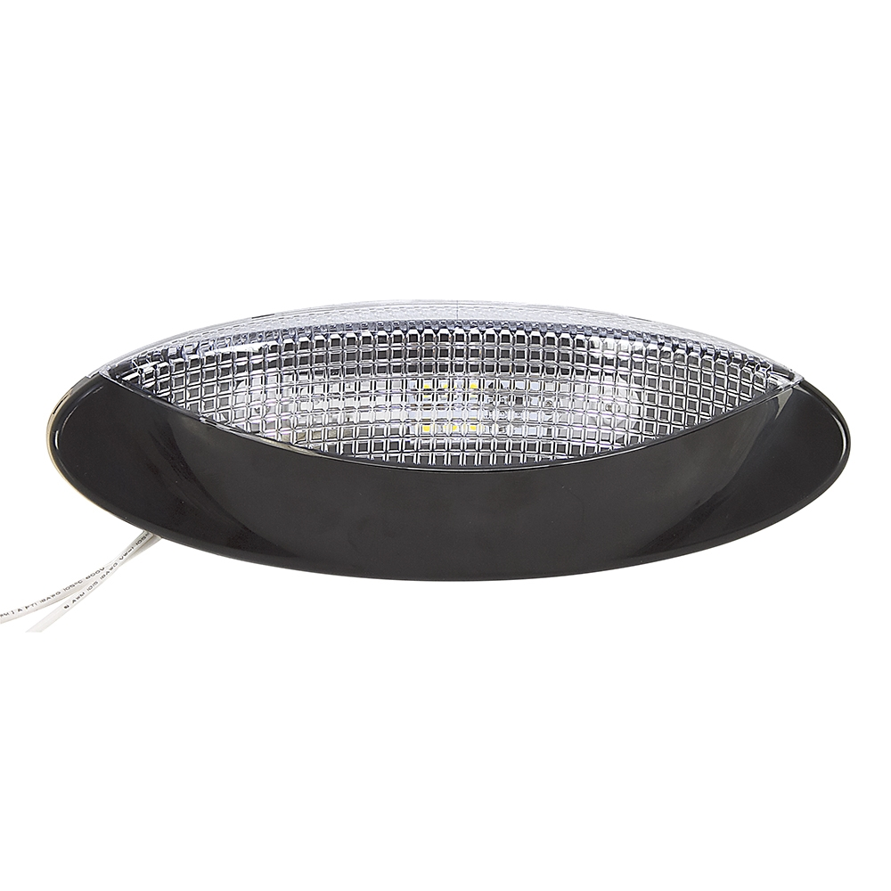 12 Volt Dome Light Fixture: 12 Volt DC Optronics LED Black Porch Dome Light RVPLL8CB