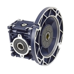 Aluminum Right Angle Worm Gear Reducer, 30 mm C.D., 60/1, 56C Input Flange, Hollow Bore Output