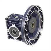 Aluminum Right Angle Worm Gear Reducer, 30 mm C.D., 80/1, 56C Input Flange, Hollow Bore Output