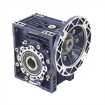 Aluminum Right Angle Worm Gear Reducer, 63 mm C.D., 80/1, 56C Input Flange, Hollow Bore Output