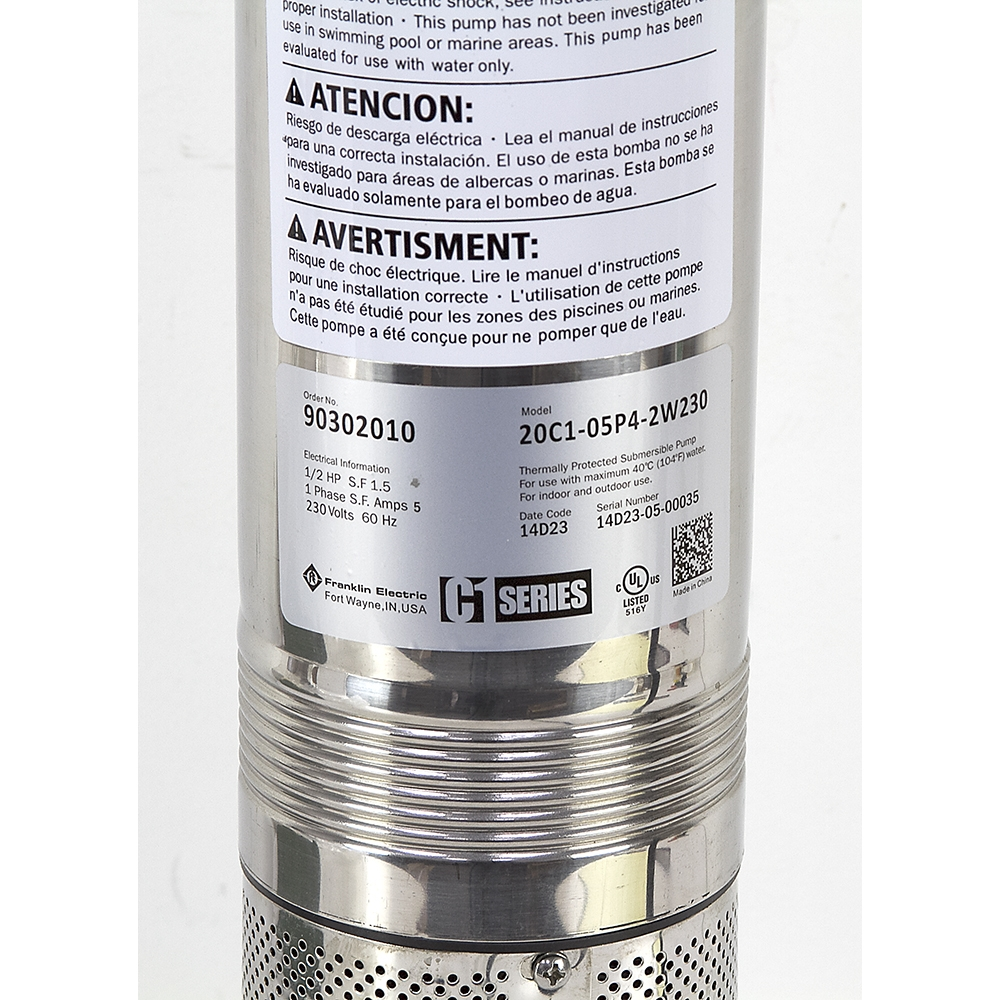 1/2 HP 230 Volt AC 20 GPM Cistern Pump