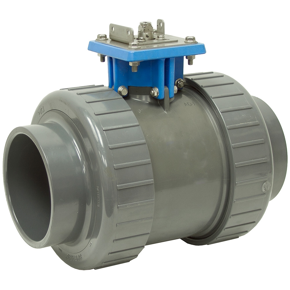 Quot socket psi pvc ball valve w mount shut