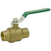 "1/2""  Sweat Connection 600 PSI Brass Ball Valve"