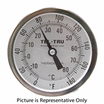"0 - 180 Degree F, -15 - 80 Degree C 3-3/16"" Face 4"" Stem Teltru AA375R Series 41100403 Thermometer"