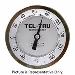 "-40 - 160 Degree F 3-3/16"" Face 6"" Stem Teltru AA375R Series 41100653 Thermometer"