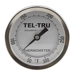 "50 - 300 Degree F 3-3/16"" Face 9"" Stem Teltru AA375R Series 41100962 Thermometer"