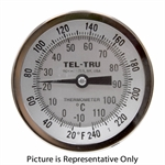 "20 - 240 Degree F, -10 - 110 Degree C 3-3/16"" Face 12"" Stem Teltru AA375R Thermometer"