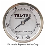 "50 - 300 Degree F 3-3/16"" Face 12"" Stem Teltru AA375R Series 41101262 Thermometer"