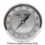 "0 - 240 Degree F 3-3/16"" Face 12"" Stem Teltru AA375R Series 41101279 Thermometer"