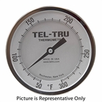 "50 - 300 Degree F 4"" Face 12"" Stem Teltru AA475R Series 47101262 Thermometer"