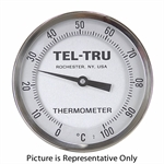 "0 - 100 Degree C 5"" Face 2-1/2"" Stem Teltru AA575R Series 42140276 Thermometer"