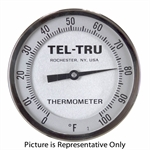 0 - 100&deg F 5&quot FACE 9&quot STEM TELTRU AA575R SERIES 42180969 THERMOMETER