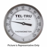 "0 - 120 Degree C 5"" Face 12"" Stem Teltru AA575R Series 421K12ED Thermometer"