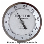 "0 - 180 Degree F 5"" Face 6"" Stem Teltru AA575R Series 42100655 Thermometer"