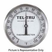"0 - 150 Degree F 5"" Face 6"" Stem Teltru AA575R Series 421006AE Thermometer"
