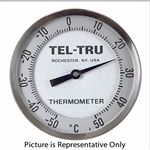 "-50 - 50 Degree C 5"" Face 8"" Stem Teltru AA575R Series 42100873 Thermometer"