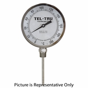 "0 - 200 Degree F 3-3/16"" Face 9"" Stem Teltru BC350R Series Thermometer"