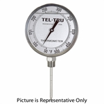 "50 - 400 Degree F, 0 - 200 Degree C 5"" Face 6"" Stem Teltru BC550R Series 40130608 Thermometer"