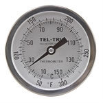 "50 - 300 Degree F, 10 - 150 Degree C 3-3/16"" Face 2-1/2"" Stem Teltru GT300 Thermometer"