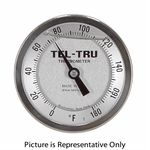 "20 - 240 Degree F 3-3/16"" Face 3"" Stem Teltru GT300R Series 34130359 Thermometer"