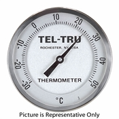 "50 - 400 Degree F, 0 - 200 Degree C 4"" Face 12"" Stem Teltru GT400R Series 48101208 Thermometer"