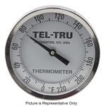 "0 - 220&Deg F 5"" Face 9"" Stem Teltru GT500 Series 37100956 Thermometer"