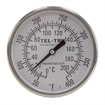 "50 - 400 Degree F, 0 - 200 Degree C 2"" Face 2-1/2"" Stem Teltru LN250 Series 31100208 Thermometer"