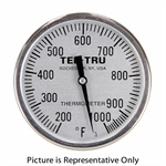 "200 - 1000 Degree F 2"" Face 2-1/2"" Stem Teltru BQ250 Series 31100266AZLA6AA Thermometer"