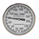 "20 - 240 Degree F 2"" Face 6"" Stem Teltru LN250R Series 32100659 Thermometer"