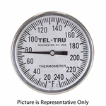 "50 - 500 Degree F, 0 - 250 Degree C 1-5/8"" Face 5"" Stem Teltru AD44R Series 44190509 Thermometer"