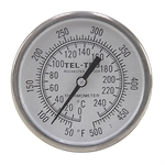 "50 - 500 Degree F, 0 - 250 Degree C 1-3/4"" Face 2-1/2"" Stem Teltru GT100R Thermometer"