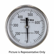 "50 - 300 Degree F, 10 - 150 Degree C 1-3/4"" Face 5"" Stem Teltru GT100R Series 16100507 Thermometer"