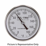 "0 - 180 Degree F 1-3/4"" Face 5"" Stem Teltru GT100R Series 16100555AFEE1AA Thermometer"