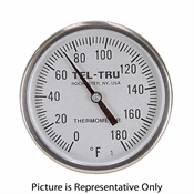 "0 - 180 Degree F 1-3/4"" Face 8"" Stem Teltru GT100R Series 16100855AFEE1AA Thermometer"