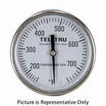 "150 - 750 Degree F 1-3/4"" Face 8"" Stem Teltru GT100R Series 16100865 Thermometer"