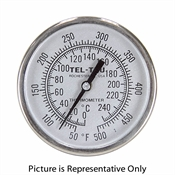 "25 - 125 Degree F 1-3/4"" Face 2-7/8"" Stem Teltru GT100R Series 1610LZ60AFDAAAA Thermometer"