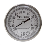 "0 - 150 Degree C 1-3/4"" Face 5"" Stem Teltru GT100R Series 16120577 Thermometer"