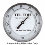 "50 - 400 Degree F, 0 - 200 Degree C 1-3/4"" Face 2-3/8"" Stem Teltru GT200 Thermometer"
