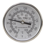 "32 - 210 Degree F, 0 - 100 Degree C 1-3/4"" Face 2-1/4"" Stem Teltru GT200 Thermometer"