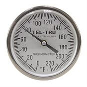 "0 - 220 Degree F 1-3/4"" Face 4"" Stem Teltru GT200 Series 20100456 Thermometer"