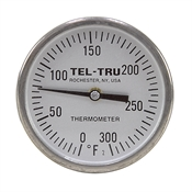 "0 - 300 Degree F 1-3/4"" Face 4"" Stem Teltru GT200 Series 20100457 Thermometer"