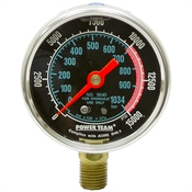 "0-15000 PSI 2.50"" Dia Power Team LF Gauge 9040"